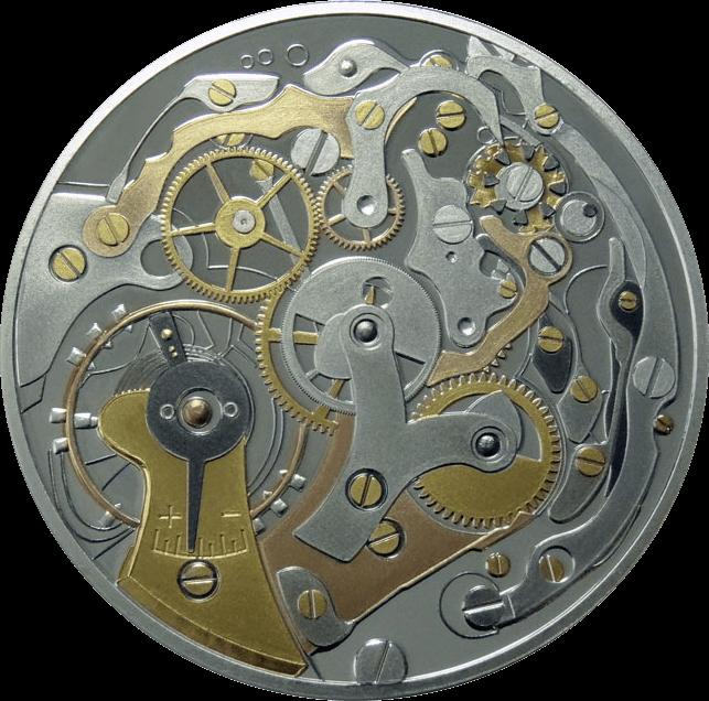 Uhrwerk mit 10 verschiedenen Metallen